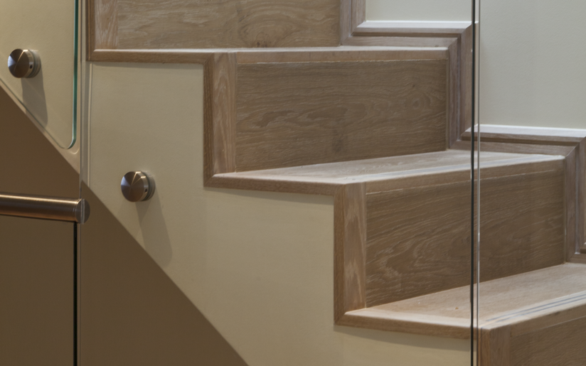 Stair Side...elevation showing more clearly the solid oak nosings and trims.