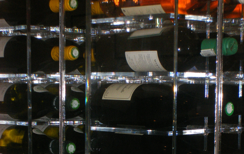 Wine Cellar Perspex Rack...to accomodate individual standard sized wine bottles, each section is handmade.